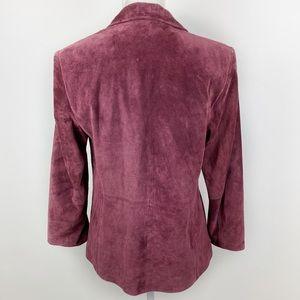 i.E. Jackets & Coats - Burgundy Genuine Leather Blazer Jacket Raspberry Z